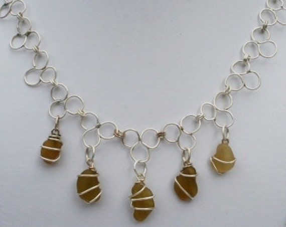 TREFOIL SEAGLASS NECKLACE  - Amber and Sterling Silver