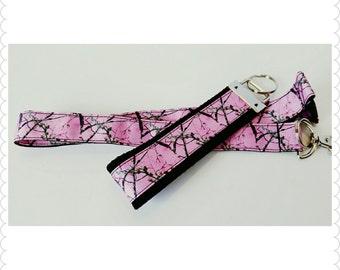 Pink Camo badge holder, lanyard, and key chain