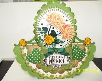 Valentine green rose card