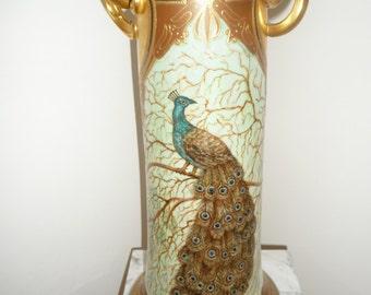 Outstanding large Art Nouveau Jugendstil Polychrome Vase with Peacocks signed Gwendoline – circa 1911
