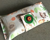 Baby or toddler funky nappy wallet. Cute Jungle Fun fabric. Custom made to create a unique item for you & your baby. Made to Order.
