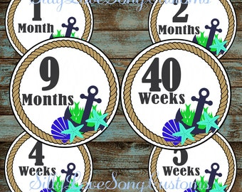 Beach Themed Printable Monthly Baby Stickers or Weekly Bump Stickers! DIGITAL FILES! 4inch Rounds