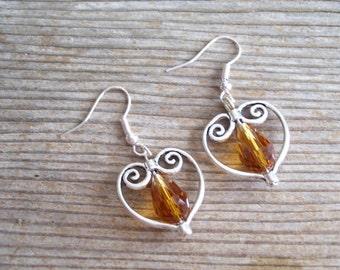 Topaz Silver Heart Earrings, Filigree Silver Heart Earrings, Bridal Earrings, Sweetheart Jewelry, Silver Red  Earrings