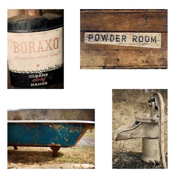 Vintage Bath Wall Decor : Bathroom wall art set vintage photography home decor