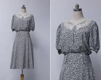 Vintage 80s Peter Pan Collar Midi Dress | Japanese Vintage Floral Dress | Black White Vintage Floral Tea Dress | Summer Vintage Dress S or M