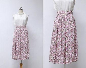 Vintage 80s Garden Floral Midi Skirt | Pink Beige Daisy Floral Long Vintage Skirt | High Waisted Summer Midi Skirt S or M