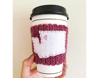 Bellingham WA Knitted Coffee Cozy // Eco-Friendly // Coffee Sleeve