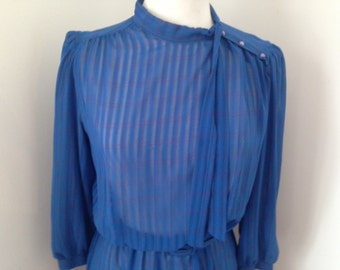 80's blue striped day dress, size 12/14
