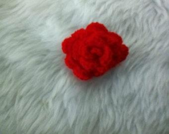 Red Rose Crocheted Brooch