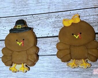 Boy and Girl Turkey Thanksgiving Decorated Sugar Cookies  -1 dozen
