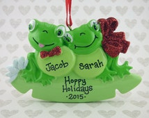 2 Frogs Personalized Ornament - Hoppy Holidays - Family of Two - Hand Personalized Christmas Ornament