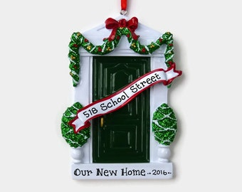 Green Door Personalized Ornament - New Home - First Apartment - Hand Personalized Christmas Ornament
