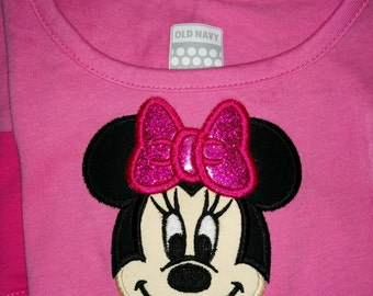 Mickey Minnie Mouse Face Head Boutique Birthday Party T-Shirt Shirt Girl Outfit! Optional Bow Available! Sizes  2 ,3, 4, 5, 6, 7, 8, 10 12