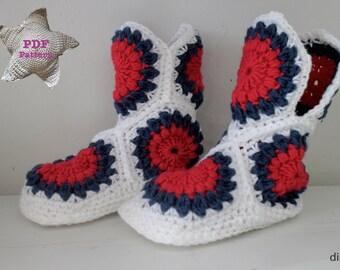 Crochet pattern Sunburst Boots size 4 to 7
