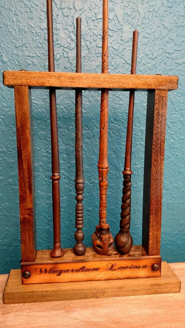 magic wand potter wand display magic wand holder holds 4. Black Bedroom Furniture Sets. Home Design Ideas