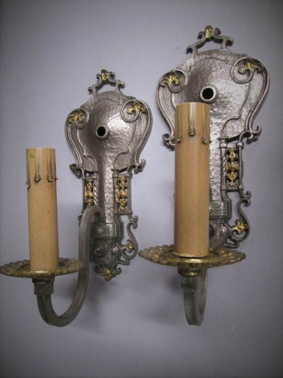 Vintage Pair Gothic Wall Sconces Spanish Revival California