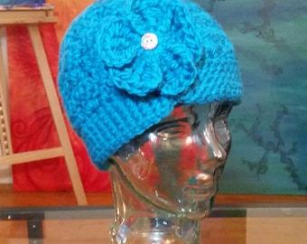 Adult Teal Flower Hat