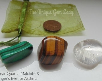 Asthma Blend Tumblestone Gift Set ~ Gemstone Crystal Healing ~ Clear Quartz, Malachite & Tiger's Eye