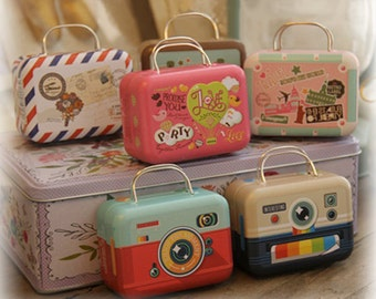 10 pcs Mini Suitcase Tins - Miniature Luggage Collectibles II -  Gift Packaging Containers - Party Wedding Favors