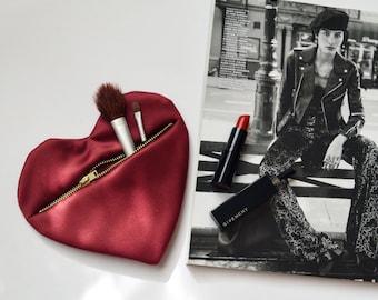 "Makeup bag Heart ""Red Heart"" heartshaped make up cosmetics"