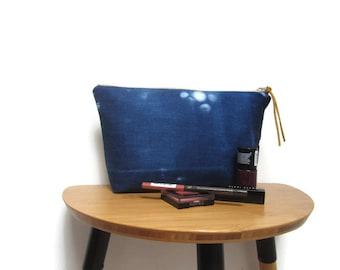 Shibori makeup bag, Makeup pouch, Gift for her, Shibori print makeup bag, Denim makeup bag, Indigo makeup bag