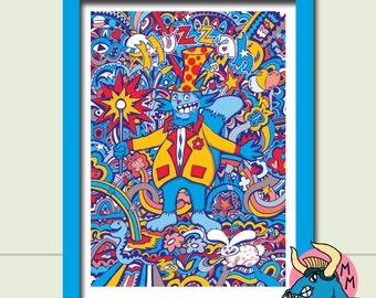 Cat Art Print, A3 Art Print, Wall Art, Animal Art, Nursery Wall Art, Kids Art, Funny Art Print, Cute Art, Art Deco, Childrens Art