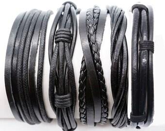 Gift For Men, Gift For Women, 5 Individual Black Leather Bracelets Set, Anniversary Gift, Boyfriend Gift, Girlfriend Gift 5P-111