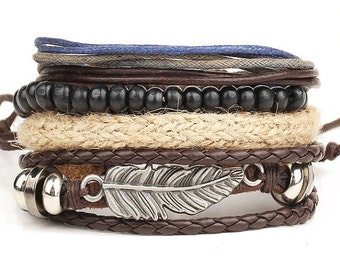 Womens Leather Bracelets, Mens Leather Bracelets, Bracelets For Women, Mens Bracelets, Birthday Gift, 4P-2