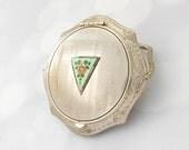 Art Deco Compact - Vintage Vanity Powder Compact - Guilloche Enamel - Vintage Enamel - Antique Compact - Ladies Compact- Gift For Her