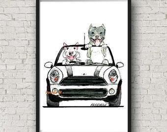 Mini Terrier! Classic American Bully and Bull Terrier driving a Mini Cooper Art Print