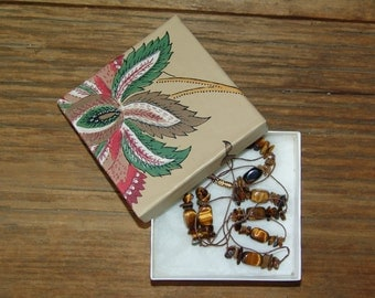 Handcrafted mix of tiger eye gemstones long style necklace & gift box collection