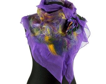 nuno felted silk scarf shawl, felted shawl, felted collar, felted scarf - Feltmondo