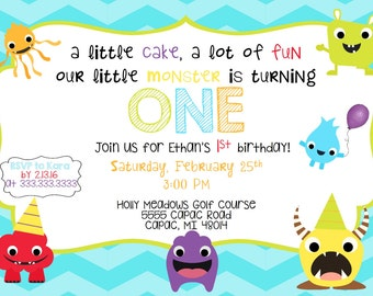 Monster/Dinosaur First Birthday Invitation