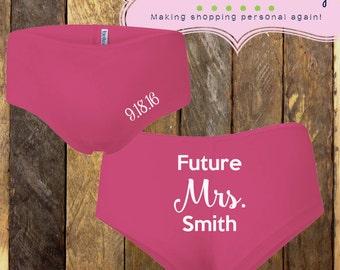 Bride Underwear, future mrs. boy shorts, bridal underwear, bachelorette underwear, bride undies, bridal shower gift, engagment gift