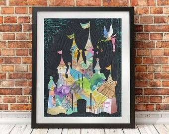 Princess castle wall art, Disney castle print, Cinderella Castle, Princess room, disney nursery decor, home decor, mixed media collage