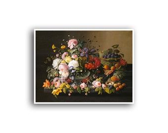Flower Art Print Rose Mums Carnation Poster Floral Art Print Plant Wall Decor Botanical 24