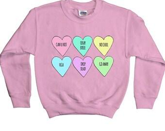 Conversation Hearts -- Youth Sweatshirt
