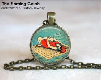 VINTAGE LADY BATHER Pendant • Vintage Pin Up • Art Deco Style • Vintage Beach • Art Deco Pin Up • Gift Under 20 • Made in Australia (P0846)