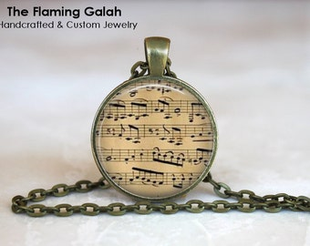 SHEET MUSIC Pendant • Vintage Sheet Music • Music Lover • Musical Notes • Vintage Music Notes • Gift Under 20 • Made in Australia (P0926)
