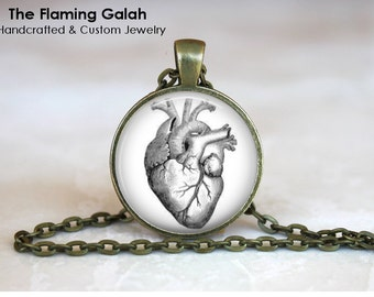 ANATOMICAL HEART Pendant •  Medical Illustration •  Gothic Valentines •  Steampunk Jewelry • Gift Under 20 • Made in Australia (P1233)