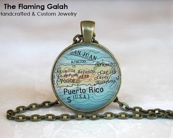 PUERTO RICO Map Pendant • Caribbean Map • Vintage Puerto Rico • Old Puerto Rico • Gift Under 20 • Made in Australia  (P0456)