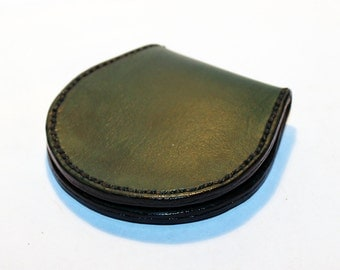 Leather coin wallet, green coin wallet, great leather item, green men's wallet, small coin wallet, gift for men, gift for women.