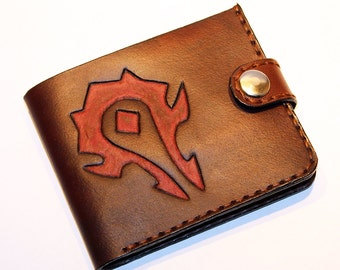 Leather wallet with Horde logo, brown wallet, great leather item, brown men's wallet, credit card wallet, gift for men, World of Warcraft!