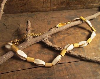 vintage gold tone and white enamel necklace