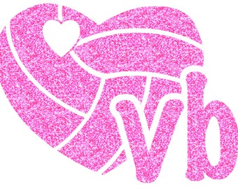 Volleyball Mini Heart Iron On Decal