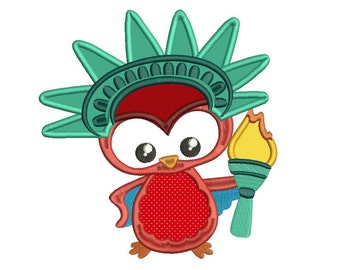Cute Little Owl Wearing Statue of Liberty Costume Applique Machine Embroidery Digitized Design Pattern - Instant Download