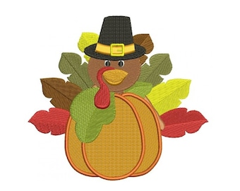 Turkey in pumpkin wearing a hat Thanksgiving Filled Machine Embroidery Digitized Design Pattern  - Instant Download -4x4 ,5x7,6x10 -hoops