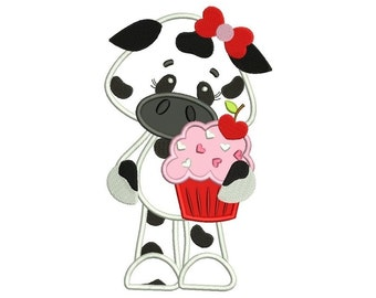 Girl Cow With Cupcake Machine Embroidery Applique Design Digitized Pattern - Instant Download