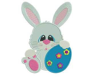 Cute Easter Bunny Egg Filled Machine Embroidery Digitized  Design Pattern - Instant Download - 4x4, 5x7, 6x10
