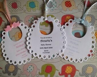 10 x Personalised Bib Baby Shower Date Invite + Envelopes